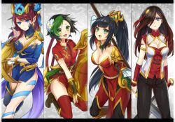 4girls alternate_costume alternate_hair_color aqua_eyes bangle black_hair blue_eyes blush bracelet braid breasts caitlyn_(league_of_legends) chinese_clothes cleavage cleavage_cutout earrings fang flower green_eyes green_hair hair_flower hair_ornament hair_over_one_eye hair_tubes jewelry jinx_(league_of_legends) katarina_du_couteau konomoto_(knmtzzz) league_of_legends looking_at_viewer multicolored_hair multiple_girls nidalee open_mouth parted_lips pointy_ears ponytail red_hair scar scar_across_eye thighhighs two-tone_hair