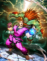2boys barefoot blanka capcom chest_hair claws dougi electricity fangs fight fingerless_gloves genzoman green_skin hibiki_dan multiple_boys official_art orange_hair ponytail shirtless spiked_hair street_fighter