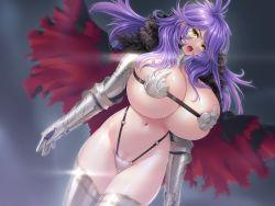1girl armor bikini_armor breasts bursting_breasts cape game_cg gauntlets gigantic_breasts kabuto_fujiko looking_at_viewer mole one-up open_mouth purple_hair sei_brunehilde_gakuen_shoujo_kishidan_to_junpaku_no_panti_~kacchuu_ojousama_no_zecchou_omorashi~ shiny shiny_skin skindentation yellow_eyes