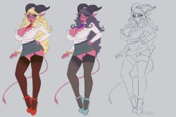 1girl bad_id baste black_hair blonde_hair blue_eyes borrowed_character breasts cleavage commentary concept_art demon_girl demon_horns demon_tail garter_straps hand_on_hip horns huge_breasts lipstick live_for_the_funk long_hair makeup office_lady original pencil_skirt pink_skin platform_footwear platform_heels pointy_ears red_shoes shoes sketch skirt solo tail thighhighs work_in_progress