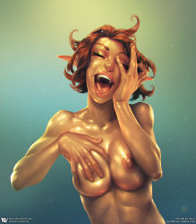 1girl artist_name breast_grab breasts brown_hair calm_(artist) elf eyes_closed groping hand_on_own_face happy large_breasts laughing nipples nude open_mouth pointy_ears self_fondle shiny shiny_skin short_hair solo wince