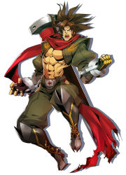 1boy :o abs angry black_boots black_gloves blazblue blazblue:_central_fiction boots brown_eyes brown_hair fighting_stance fingerless_gloves full_body gloves green_pants highres knee_boots looking_at_viewer male_focus nail official_art open_mouth pants ponytail red_scarf scar scarf shadow shirtless shishigami_bang sideburns solo spiked_hair teeth white_background