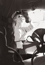 1girl aconitea blurry cigarette depth_of_field earrings gloves goggles goggles_on_head greyscale jewelry lamp league_of_legends long_hair monochrome smoke smoking tools vi_(league_of_legends)