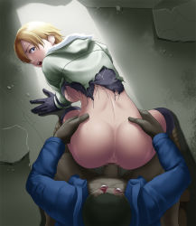 1girl all_fours ass back backboob blonde_hair blue_eyes blush boots breasts censored clothed_sex doggystyle gloves hands_on_hips highres large_breasts legs looking_back mosaic_censoring no_bra no_panties open_mouth penis rape resident_evil resident_evil_6 sex sherry_birkin short_hair spread_legs tears thighs thor_(deep_rising) torn_clothes vaginal zombie