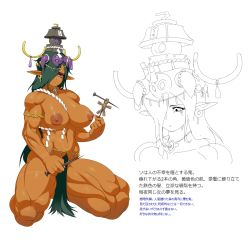 1girl areolae armlet bags_under_eyes belly_chain breasts character_profile earrings green_hair hat highres horn_ornament horns jewelry jill_besson_(vordandan) kneeling large_areolae large_breasts long_hair lots_of_jewelry muscle needle nipples nude oni orange_skin original pointy_ears pubic_hair purple_eyes rope shimenawa solo thick_thighs thighs translation_request voodoo_doll