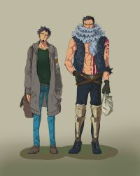 2boys abs absurdres adapted_costume arm_at_side arm_tattoo armlet bag bare_arms bare_chest bare_shoulders belt belt_buckle black_hair boots breast_pocket buckle buttons casual charlotte_katakuri chest chest_tattoo closed_mouth coat collarbone contemporary covered_mouth denim denim_vest earrings facial_hair full_body gloves hand_in_pocket hand_on_hip head_tilt highres holding holding_bag hood hood_down hooded_coat jewelry leg_armor living_(pixiv5031111) long_sleeves looking_at_another looking_to_the_side male_focus messy_hair multiple_boys muscle navel one_piece open_clothes open_vest pants pocket punk scar scarf shirtless shoes shopping_bag short_hair shoulder_bag sideburns skull spiked_armlet spikes standing stitches stomach stomach_tattoo sweater tattoo trafalgar_law unbuttoned very_short_hair vest