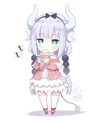 +_+ 1girl 2017 black_bow black_ribbon blue_eyes blue_hair blush bow capelet center_frills chibi crepe dated dragon_horns dress eating eyebrows_visible_through_hair food full_body hair_ribbon head_tilt heart hibanar holding holding_food horns kanna_kamui kobayashi-san_chi_no_maidragon long_hair long_sleeves low_twintails number pink_shirt red_shoes ribbon shadow shirt shoes signature solo speech_bubble standing tail thighhighs twintails very_long_hair white_background white_dress white_legwear