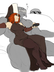 1boy 1girl black_legwear breasts controller detached_sleeves habit hetero jesus_avalos milf monster_boy mother_superior muscle no_shoes nun orange_hair original pantyhose remote_control short_hair side_slit simple_background sitting sitting_on_lap sitting_on_person sleeping sleeping_upright