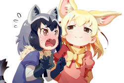 2girls animal_ears black_hair black_ribbon blonde_hair blush brown_eyes cat_ears closed_mouth ears eyebrows eyebrows_visible_through_hair fang fennec_(kemono_friends) fox_ears gloves kemono_friends loli multiple_girls neck_ruff open_mouth raccoon_(kemono_friends) ribbon silver_hair simple_background tail tears tongue yellow_ribbon