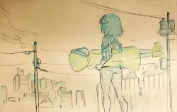 absurdres arms_at_sides ass boots building carrying_under_arm cityscape cloud colored_pencil commentary_request denim fence from_behind highres hood_up jacket jeans kill_la_kill lifting_person looking_at_another mankanshoku_mako matoi_ryuuko pants pencil photo power_lines raincloud rubber_boots short_hair sketch skyscraper smile sushio telephone_pole traditional_media wooden_fence