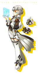 1girl boots code:_architecture_(elsword) elsword eve_(elsword) expressionless forehead_jewel full_body gloves highres official_art profile puffy_sleeves ress short_hair skirt solo thigh_boots thighhighs white_background white_boots white_gloves white_hair white_skirt yellow_eyes