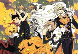 1girl 3boys absurdres bandage bat bat_ears black_hair blonde_hair blue_eyes brown_hair clamp demon_tail dress dual_persona elbow_gloves eyes_closed fang fay_d_flourite gloves halloween heterochromia highres horn kurogane_(tsubasa_chronicle) mokona multiple_boys open_mouth orange_dress pumpkin short_hair tail tsubasa_chronicle xiaolang