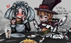 2girls :d apron bloody_marie_(skullgirls) blush bow chewing cola commentary_request dress drink eating english extra_eyes eye_socket food french_fries glass gloves grey_background hair_ornament hamburger hat heart holding holding_food looking_at_another maid maid_headdress mechanical_arms multiple_girls open_mouth orange_hair peacock_(skullgirls) plate pointing puffed_cheeks ray-k red_eyes sharp_teeth short_hair silver_hair sitting skull skull_hair_ornament skullgirls smile straw table teeth text top_hat twintails white_gloves