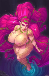 1girl areola_slip areolae breasts carmessi feet from_above great_fairy huge_breasts legs looking_at_viewer makeup nail_polish nintendo pink_hair plump pointy_ears solo the_legend_of_zelda the_legend_of_zelda:_majora's_mask thighs toes