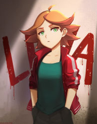 1girl absurdres ahoge amanda_o'neill expressionless graffiti green_eyes hands_in_pockets highres jacket little_witch_academia looking_at_viewer orange_hair sendrawz short_hair sketch solo thick_eyebrows