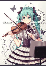 1girl bow copyright_name green_eyes green_hair hair_bow hair_ribbon hatsune_miku holding instrument long_hair looking_at_viewer playing_instrument ribbon smile solo soulkiller twintails violin vocaloid