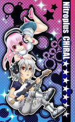1boy 1girl bass_guitar blush boots breasts denim dog_tags erect_nipples grey_hair headphones instrument jeans large_breasts long_hair m@koto naitou-kun nitroplus open_mouth pants pink_hair red_eyes smile super_sonico torn_clothes torn_jeans white_hair