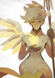 1girl blonde_hair mercy_(overwatch) overwatch simple_background solo tagme wings