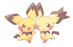 artist_request cheek-to-cheek looking_at_viewer nintendo no_humans one_eye_closed pichu pokemon simple_background tagme tail white_background