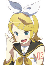 1girl blonde_hair blue_eyes detached_sleeves female kagamine_rin open_mouth sailor_collar short_hair simple_background solo tattoo torla vocaloid white_background