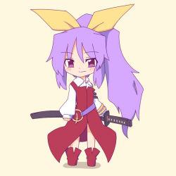 1girl belt bow hair_bow hair_ribbon kakinoki_mikan_(kari) long_hair ponytail purple_eyes purple_hair ribbon smile solo sword touhou watatsuki_no_yorihime weapon younger