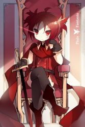 1girl blush copyright_name gloves legs_crossed looking_at_viewer pixiv_fantasia pixiv_fantasia_t red_eyes red_hair saru short_hair sitting solo sword weapon