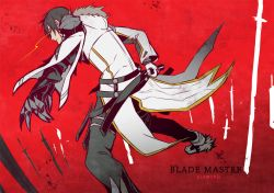 1boy artist_name bad_id black_hair black_pants blade_master_(elsword) character_name coat copyright_name daizu_yan elsword fighting_stance full_body hood hoodie looking_back male_focus pants raven_(elsword) ready_to_draw red_background scabbard sheath solo yellow_eyes