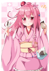 1girl hair_ornament highres japanese_clothes kimono long_hair ominaeshi_(takenoko) original pink_hair red_eyes short_kimono solo usuzumi_sakura