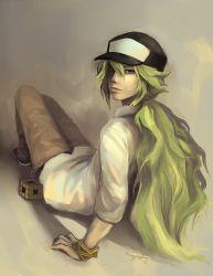 1boy bangle baseball_cap bracelet c-dra green_hair hat jewelry lips long_hair looking_back n_(pokemon) nose pokemon pokemon_(game) ponytail rubik's_cube sitting solo