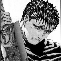 1boy berserk cape dragonslayer_(sword) guts lowres male_focus miura_kentarou monochrome official_art sad short_hair simple_background solo sword weapon white_background