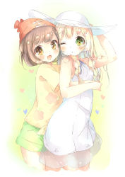 2girls :d adjusting_clothes adjusting_hat arm_up bangs beanie blonde_hair blush braid brown_hair commentary_request dress eyebrows_visible_through_hair female_protagonist_(pokemon_sm) floral_print green_eyes green_shorts hat heart highres hug hug_from_behind kuma_(happylocation) lillie_(pokemon) long_hair multiple_girls one_eye_closed open_mouth pokemon pokemon_(game) pokemon_sm red_hat shirt short_hair short_sleeves shorts sleeveless sleeveless_dress smile sun_hat swept_bangs tied_shirt twin_braids white_dress white_hat yellow_eyes yellow_shirt