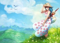 1girl artist_request blue_eyes blue_hair breasts dress female fire_emblem fire_emblem:_kakusei lucina nintendo smile sword
