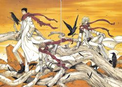 3boys absurdres bandage bird blonde_hair brown_eyes brown_hair clamp crow detached_sleeves fay_d_flourite highres kurogane_(tsubasa_chronicle) multiple_boys outdoors red_scarf scarf short_hair sitting tsubasa_chronicle xiaolang