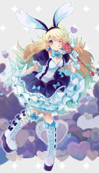 1girl animal_ears blonde_hair blue_eyes boots bravely_default:_flying_fairy bunny_ears cross-laced_footwear dress gloves hairband heart long_hair looking_at_viewer lunica microphone one_eye_closed purin_a_la_mode smile solo sparkle tongue tongue_out white_gloves