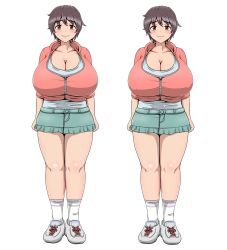 1girl artist_request blush breasts brown_eyes brown_hair cleavage curvy erect_nipples full_body gigantic_breasts idolmaster looking_at_viewer oikawa_shizuku plump shoes short_hair skirt smile sneakers solo standing thick_thighs