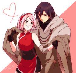 1boy 1girl amiko bike_shorts black_gloves black_hair couple forehead_mark haruno_sakura naruto naruto:_the_last pink_hair poncho smile uchiha_sasuke