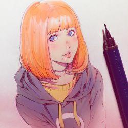 1girl blue_eyes graphite_(medium) hood hoodie ilya_kuvshinov lips parted_lips pencil photo red_hair short_hair solo traditional_media