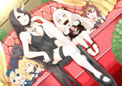 2girls :d ahoge atago_(kantai_collection) bare_shoulders barefoot battleship-symbiotic_hime black_dress black_hair breasts character_doll cleavage couch dress dutch_angle fang feet full_body horns kantai_collection kongou_(kantai_collection) legs long_hair medium_breasts mi_ti multiple_girls northern_ocean_hime open_mouth pale_skin purple_eyes red_eyes rensouhou-chan shimakaze_(kantai_collection) shinkaisei-kan short_dress sitting smile thigh_strap thighhighs toes very_long_hair white_dress white_hair