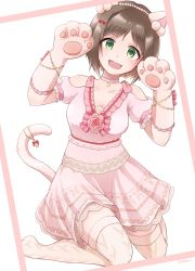 1girl :3 :d animal_ears arms_up bangs bare_shoulders beads bob_cut bow breasts brown_hair cat_ears cat_paws cat_tail choker cleavage collarbone dress eyebrows_visible_through_hair fake_animal_ears fang flower frame frilled_dress frilled_gloves frilled_sleeves frills full_body gloves green_eyes hair_beads hair_bow hair_ornament head_tilt highres idolmaster idolmaster_cinderella_girls idolmaster_cinderella_girls_starlight_stage jewelry juliet_sleeves kemonomimi_mode kneeling lace lace-trimmed_dress layered_dress long_sleeves looking_at_viewer maekawa_miku medium_breasts nishimura_(mosh!) no_shoes open_mouth over-kneehighs parted_bangs paw_gloves paw_pose paws pendant pink_bow pink_choker pink_gloves pink_legwear pink_rose pom_pom_(clothes) pose puffy_sleeves raised_eyebrows red_bow rose simple_background smile solo striped striped_bow tail tareme thighhighs white_background