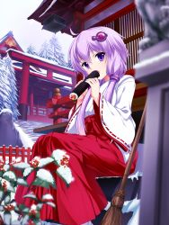 1girl :o ahoge bamboo blurry blush bug_(artist) cloud cloudy_sky depth_of_field fir_tree food hair_tubes hakama hakama_skirt highres holding_food japanese_clothes kimono leaf long_sleeves looking_at_viewer low_twintails miko open_mouth purple_eyes purple_hair railing red_skirt ribbon-trimmed_sleeves ribbon_trim rock rowan short_hair_with_long_locks skirt sky snow solo stairs statue sushi tree twintails vocaloid voiceroid yuzuki_yukari