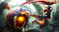 alternate_hair_color bird bow_(weapon) crossbow facing_away gameplay_mechanics gauntlets hairpiece highres hood league_of_legends long_hair monster open_mouth pink_hair quinn tagme valor_(league_of_legends) weapon wing_(wingho)
