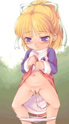1girl blonde_hair blue_eyes blush chabo_(fuketsudan) dress dress_lift embarrassed female hair_ornament hair_ribbon high_ponytail loli long_hair looking_down lowres navel panties panty_pull ponytail pussy pussy_juice ribbon rockman rockman_(classic) roll solo uncensored vibrator