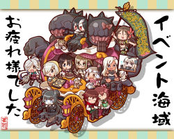 6+girls :3 :d ahoge amagi_(kantai_collection) apron asashimo_(kantai_collection) banner battleship_water_oni black_dress black_gloves black_hair black_legwear blonde_hair blue_eyes blush bow bowl breasts brown_hair chaki_(teasets) chariot chocolate cleavage cookie covered_navel crop_top double_bun doughnut dress elbow_gloves epaulettes eyes_closed fairy_(kantai_collection) flying_sweatdrops folded_ponytail food garrison_cap gauntlets gift gloves green_eyes green_skirt grey_eyes grin hair_ornament hair_over_one_eye hairclip hamakaze_(kantai_collection) hand_holding hat headgear heart highres holding horn kantai_collection katori_(kantai_collection) kisaragi_(kantai_collection) lantern light_brown_hair light_cruiser_oni long_hair long_sleeves military military_uniform mole mole_under_eye monster multiple_girls murakumo_(kantai_collection) mutsuki_(kantai_collection) necktie open_mouth orange_eyes pantyhose pointer red_eyes ro-500_(kantai_collection) school_uniform serafuku sharp_teeth shigure_(kantai_collection) shinkaisei-kan short_hair silver_hair sitting skirt smile spikes swimsuit swimsuit_under_clothes table tan turret u-511_(kantai_collection) uniform v white_gloves white_skin