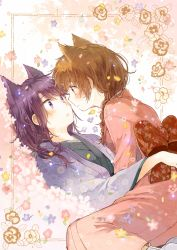 2girls animal_ears braid brown_eyes brown_hair cat_ears ears extra_ears eye_contact floral_background flower_request framed front_braid hatihamu hug japanese_clothes kimono light_smile looking_at_another multicolored_background multiple_girls original pink_background purple_eyes purple_hair short_hair single_braid tagme white_background yukata yuri