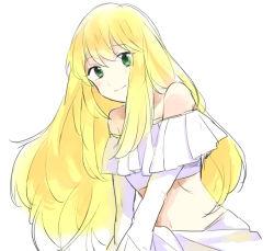 1girl aldnoah.zero asseylum_vers_allusia bare_shoulders blonde_hair blush green_eyes long_hair midriff smile