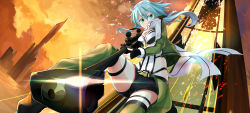 1girl anti-materiel_rifle belt blue_hair breasts broken_glass cleavage cloud cracked_glass cropped_jacket falling fingerless_gloves glass gloves gochiwa green_eyes gun highres lens_flare long_hair muzzle_brake pgm_hecate_ii rifle scarf scope shinon_(sao) short_shorts shorts sniper_rifle solo sword_art_online thigh_strap thighs weapon