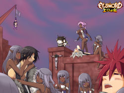 3boys :q aisha_(elsword) arrow black_hair blank_eyes blush breasts chloe_(elsword) cleavage crucifixion dark_elf dark_skin defeated demon elf elsword elsword_(character) eve_(elsword) facial_mark flag forehead_jewel grey_hair hair_over_eyes hanging hug hug_from_behind knife long_hair multiple_boys multiple_girls nishino_(waero) nude oberon_(elsword) pink_hair pointy_ears purple_eyes purple_hair raven_(elsword) red_eyes red_hair rena_(elsword) robot robot_girl saliva saliva_trail smile stepped_on tongue tongue_out topless twintails upside-down white_hair yellow_eyes