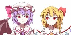 2girls asymmetrical_hair bat_wings blonde_hair blush crystal flandre_scarlet hat hat_ribbon lavender_hair looking_at_another minust mob_cap multiple_girls no_hat no_headwear puffy_sleeves red_eyes remilia_scarlet ribbon short_hair siblings side_ponytail simple_background sisters slit_pupils smile touhou upper_body vest white_background wings