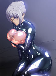 1girl blush bodysuit breast_press breasts carnevale9 covering covering_nipples curvy embarrassed glasses hair_bun hair_up highres huge_breasts latex latex_suit legs looking_at_viewer prison_school purple_eyes purple_hair see-through shiny shiny_clothes shiraki_meiko simple_background sitting solo sweat thighs