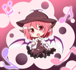 1girl animal_ears beamed_quavers chibi dress earrings eyebrows_visible_through_hair gradient gradient_background hat jewelry looking_at_viewer musical_note mystia_lorelei open_mouth pantyhose pink_dress pink_eyes pink_hair pink_legwear quaver senba_chidori solo touhou wide_sleeves wings